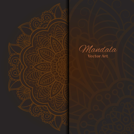 motif pattern: Card or invitation with mandala pattern.Vector vintage hand-drawn highly detailed round mandala elements. Luxury lace festive ornament card. Islam, Arabic, Indian, Turkish, Ottoman, Pakistan motifs.