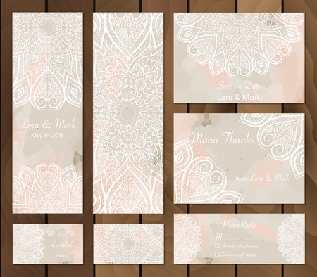 Conjunto de fondo de la acuarela con mandalas - doodle de elementos indios redondos. modelo. Tarjeta de invitación. Colección de tarjetas étnicas, menú o invitaciones de la boda con el ornamento indio.