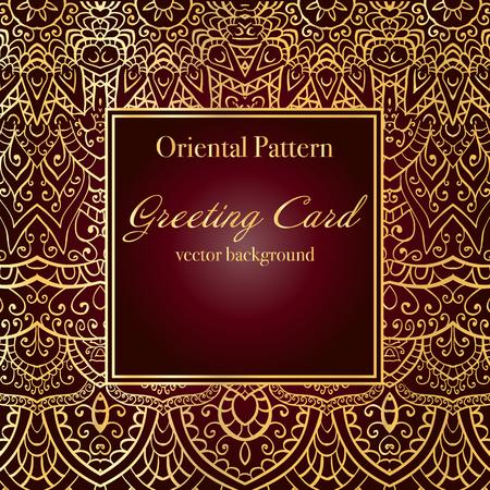 ornamentation: Elegant Indian ornamentation on a dark background. Stylish design. Can be used as a greeting card or wedding invitation.