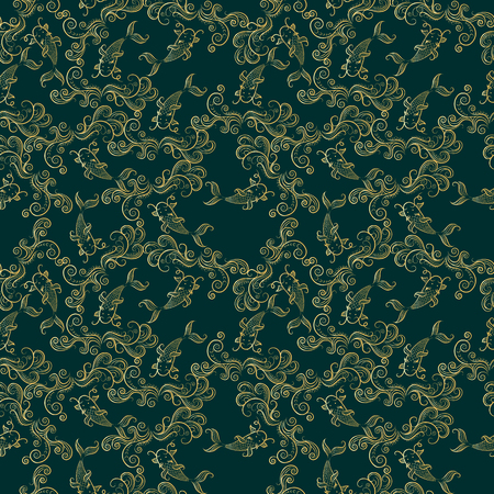 jumping carp: Koi chinese carp seamless pattern. Vector deep green background with gold fish.