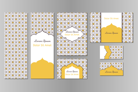 Business set or menu set with traditional arabic geometric pattern with stars. Abstract background. Indian, Arabic, Islam motifs. Brochure, menu or invitation cover and business card designs. Illustration