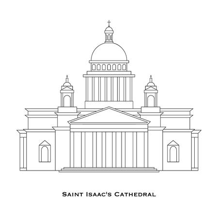 saint petersburg: St. Petersburg - Saint Isaacs Cathedral in linear style, Saint Petersburg, Russia