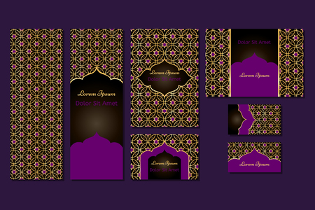 arabic background: Business set or menu set with traditional arabic geometric pattern with stars. Abstract background. Indian, Arabic, Islam motifs. Brochure, menu or invitation cover and business card designs. Illustration