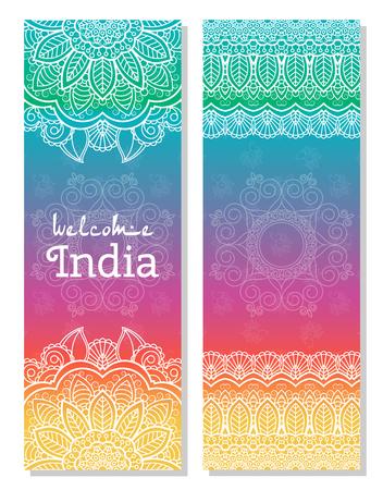 kurta: Set of Indian traditional mandala ornament illustration concept. Poster, book,menu, abstract, ottoman motifs, element. decorative ethnic greeting card or invitation design background.
