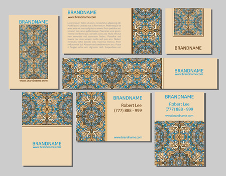 flayers: Vector set of business cards flayers banners with oriental pattern.