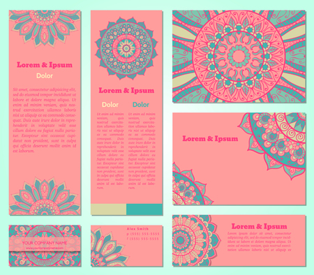 creation of sites: Set of business cards templates with oriental ornament. Vector background. Indian, Arabic, Islam motifs. Vintage design elements. Mandala and seamless border decorative elements