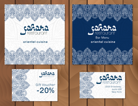 Vector illustration of a menu card template design for a restaurant or cafe Arabian oriental cuisine. Asian, Arab and Lebanese cuisine. Business cards and vouchers. Hand-drawn traditional ornament