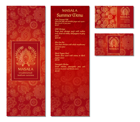 Vector illustration of a menu card template design for a restaurant or cafe Indian oriental cuisine. Asian, Arab and Lebanese cuisine. Business cards and vouchers. Logo - traditional indian flower