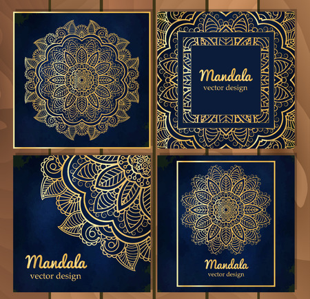 kurta: Set of Indian traditional flower mandala ornament illustration. Poster, book,menu, abstract, ottoman motifs, element. Vector decorative ethnic greeting card or invitation design background. Illustration