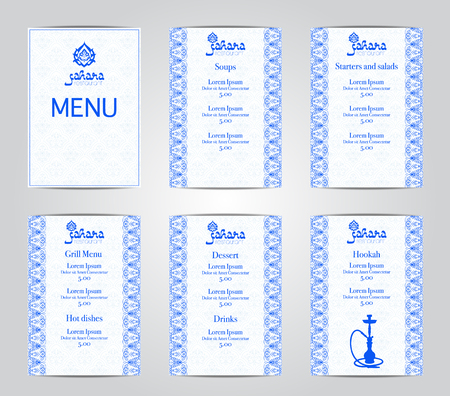 Vector illustration of a menu card template design for a restaurant or hookah cafe arabic oriental cuisine. Asian, Arab and Lebanese cuisine. Business cards and vouchers. Logo -hookah.