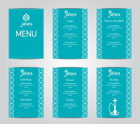Vector Illustration eines Menükarte Template-Design für ein Restaurant oder Café Shisha Arabische orientalische Küche. Asiatische, arabische und libanesische Küche. Visitenkarten und Gutscheine. Logo -hookah.