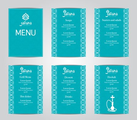 oriental cuisine: Vector illustration of a menu card template design for a restaurant or hookah cafe arabic oriental cuisine. Asian, Arab and Lebanese cuisine. Business cards and vouchers. Logo -hookah.