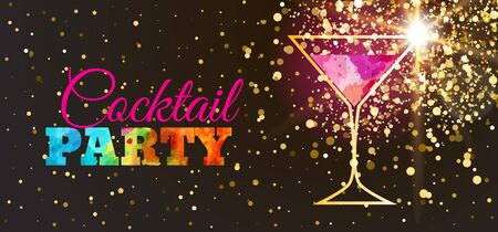 Disco cocktail party poster with trendy glitter background and highlights. Cocktail glass on a black background with watercolor elements. Flyer or invitation design
