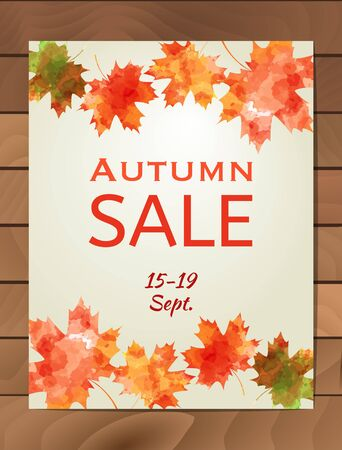 business event: Autumn Sale design with colorful watercolor maple leaf. Business event concept. Illustration