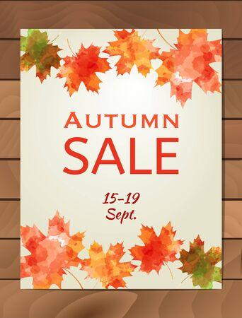 Autumn Sale design with colorful watercolor maple leaf. Business event concept. Illustration