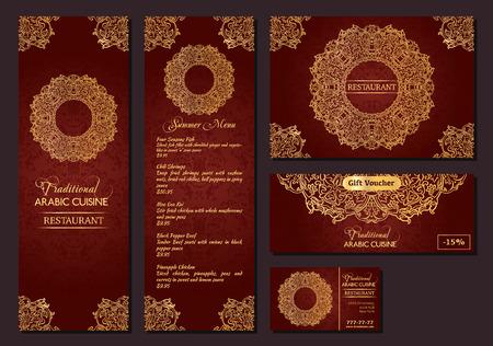 oriental cuisine: illustration of a menu for a restaurant or cafe Arabian oriental cuisine, business cards and vouchers. Illustration