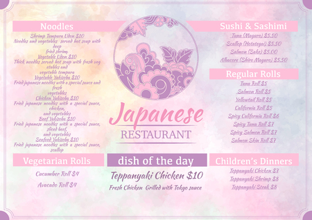 susi: Japanese food menu template with round flowers logo on watercolor pastel background. Good for flyer, brochure, web, card. Vector illustration