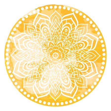 indian paint brush: Mandala. Vintage watercolor decorative elements. Hand drawn background. Islam, Arabic, Indian ottoman motifs Illustration
