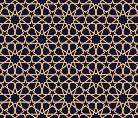Sfondo modello arabo. Sfondo geometrico ornamento musulmano senza soluzione di continuità. Illustrazione vettoriale di tessitura islamica. Arredamento arabo tradizionale su sfondo blu scuro e oro