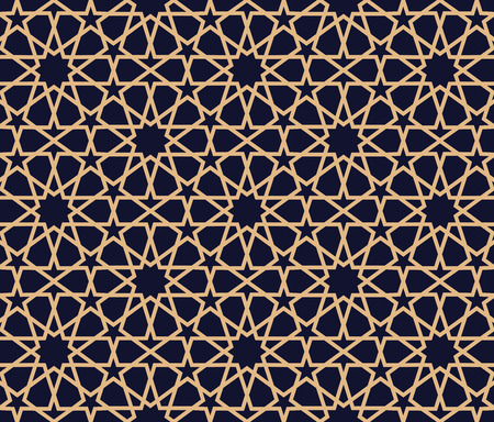 Arabic pattern background. Geometric seamless muslim ornament backdrop. Vector illustration of islamic texture. Traditional arabic decor on dark blue and gold background