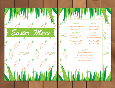 Vector Easter menu or Party Invitations and Greeting Cards with carrot pattern and green grass. Spring holiday celebration poster design template