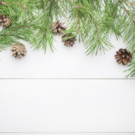 Christmas or New Year background with fir branches and cones flat lay, blank space for a greeting text Banco de Imagens