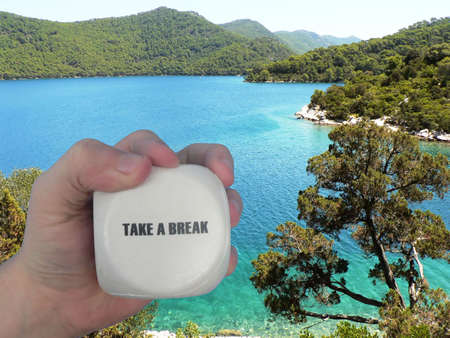 masculin: Take a break - Book your vacation Stock Photo