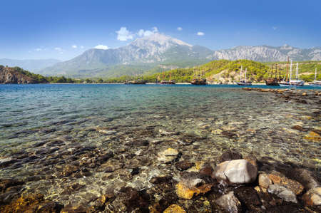 Views of the Bay Phaselis and Tahtali mountain, Kemer. 写真素材 - 122399937