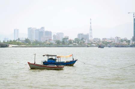 Old fishing boats on Kai river, Nha Trang, Vietnam. Stok Fotoğraf