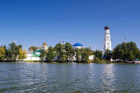 View of the Raif monastery from the lake, Tatarstan Republic, Russia. Stok Fotoğraf