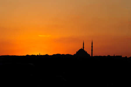 The silhouette of the building of Istanbul at sunset.