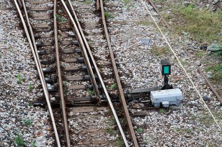 Automatic arrow at the fork of the railway tracks