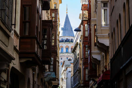 View of Galata tower from a narrow street, Istanbul. Banco de Imagens