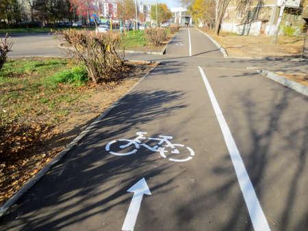 A dedicated bike path on a street sidewalk.