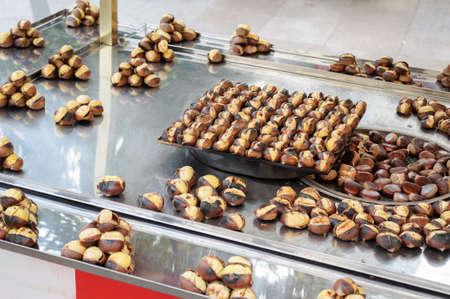 Roasted chestnuts in the street market, Istanbul, Turkey. Banco de Imagens