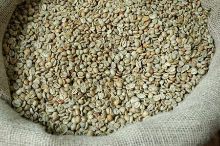 Unroasted coffee beans at a street market in Istanbul, Turkey.