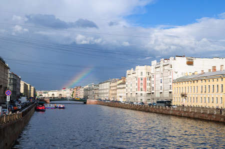 ontanka river and rainbow in the sky, St. Petersburg, Russia. Banco de Imagens