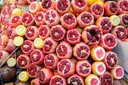 Red pomegranate fruit at street market, Istanbul, Turkey.