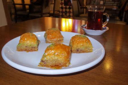 Baklava is a traditional Turkish dessert in cafe, Turkey. Banco de Imagens