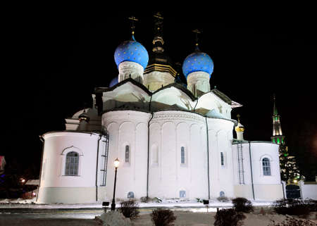 Night view of the Annunciation Cathedral of Kazan built in 1552.