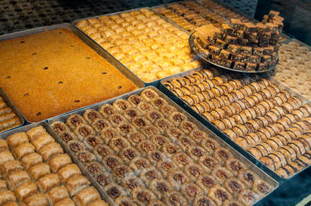 Baklava is a traditional Turkish sweet in the street market of Istanbul, Turkey. Banco de Imagens