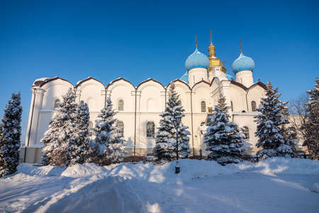 Annunciation Cathedral in winter, Kazan, Tatarstan Republic.