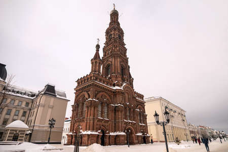 Bell tower of the Epiphany Cathedral in Kazan, Tatarstan Republic.