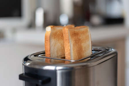 Two toasted slices of bread in the toaster, selective focus. Imagens
