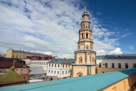 Bell Tower of the Peter and Paul Cathedral of Kazan, Russia. Imagens