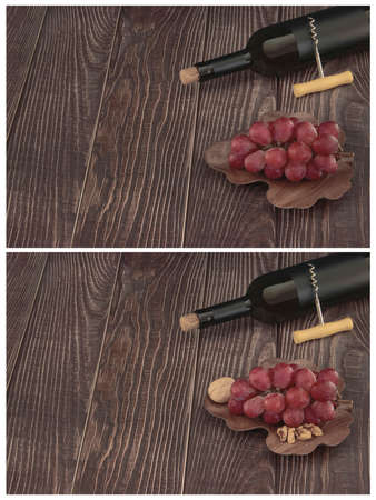 Set of images with expensive red wine and grapes on a wooden background with old texture and a plate of black walnut wood