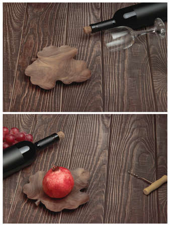 Two conceptual images of Cabernet Sauvignon wine with fruit on a wooden background