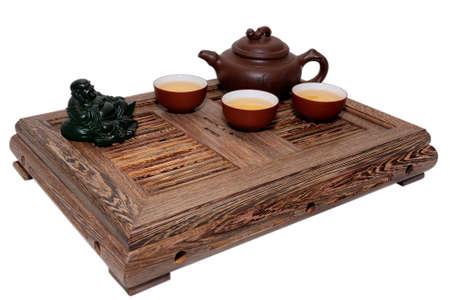 chinese tea ceremony: Chinese tea ceremony isolated white background