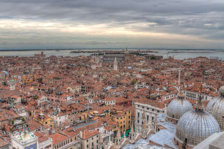 view over the red rooftops of Venice, aerial view photo