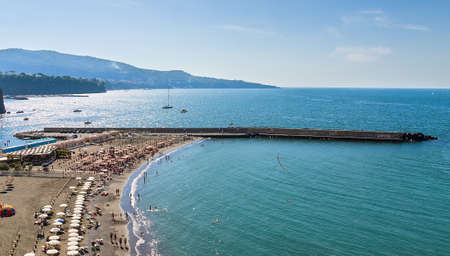 beautiful beach  on the Sorrento coast opposite the island of Capri, one of the most beautiful places in the coast photo